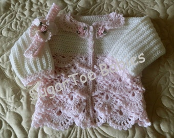 Baby Sweater Crochet Pattern  12 mo Springtime Petals- Instant PDF Download Available
