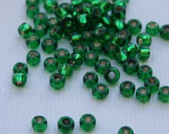 Seed beads 2mm emerald green