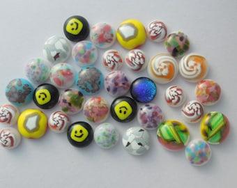 Fused Glass Millefiori Mini Cabs - Cabochons - Lampwork Beads - Fused Glass - Flower Beads - Glass Bead - Findings 5234