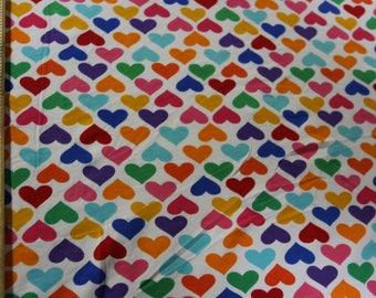 Robert Kaufman Colorful Rainbow hearts Cotton Lycra Knit Fabric