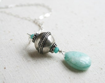 Boho Necklace, Sterling Silver Necklace, Thai Bead, Gemstone Jewelry