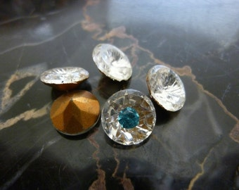 3 DECO Crystal Center Inset Setting Faceted Jewels, 8mm, C18b