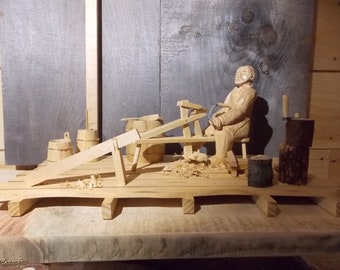 The coopers shed, a diorama depicting a coopers work shop of the 1800s with the tools of his trade
