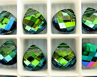 6 Aquamarine Green Sphinx Swarovski Crystals Pendants Briolette 6012 11mm
