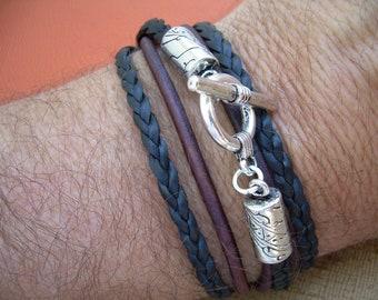 Leather Bracelet, Unisex, Double Strand Triple Wrap, Antique Brown and Black, Mens Bracelet, Mens Jewelry, Womens Bracelet