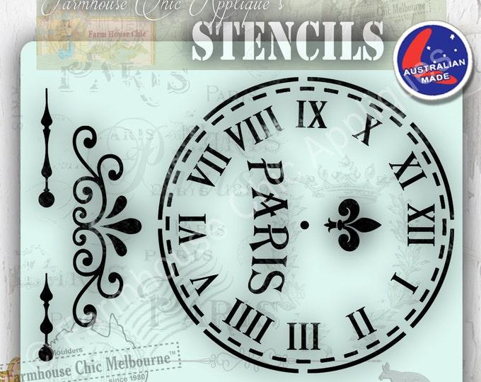 Mylar Furniture Stencil, French Vintage Stencil, Artist Stencil, Cake Stencil Furniture Decoration, Wall Stencil, Cushion Stencil Clock Face
