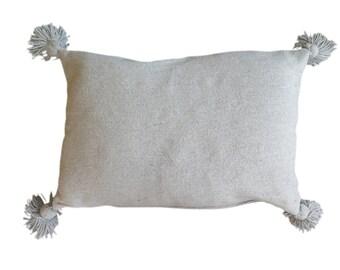 Handmade Moroccan Pom Pom Pillow - Grey
