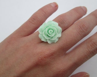 Mint Flower Ring, Mint Ring in Silver, Bridesmaid Ring, Pastel Green Ring