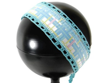 Headband Pastel Blue Pink Yellow Plaid, Crochet Trim Ties