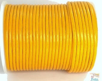 1 meter (cui113) 2mm yellow leather