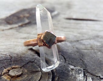 Quartz Point and Watermelon Tourmaline Ring // Copper Electroformed Ring // Size 6 1/2