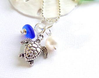 Cobalt Blue Sea Glass Jewelry  Honu Necklace Beach Glass Garden Leaf Seaside