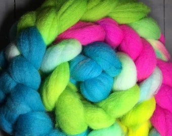 Highlighter Hand Dyed BFL Top Roving