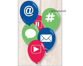 social media party balloons, internet symbols, hashtag, at symbol, graduation ideas, e-commerce meeting, cyberschool, email, speech bubble,