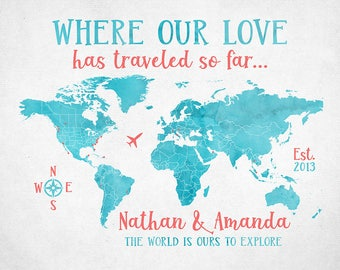 World Map, Where our Love Has Traveled, Gift for Husband, Wife, World Travels, Traveler Gifts, Anniversary Gift, Large Map Canvas   WF437