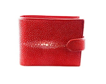 Portefeuille wally galuchat/cuir ROUGE