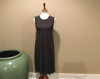 EILEEN FISHER Midi Tank Dress / Sleeveless Scoop Neck / Dark Charcoal / S-P / Vicose & Spandex Pullover / Eileen Fisher Free Flowing Style