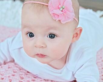 Pink Flower Headband, Light Pink Headband, Flower Headband, Newborn Headband, Photo Prop Headband, Pink Flower Girl, Pink Wedding Headband