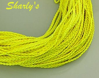 neon yellow braided suede cords 1 m