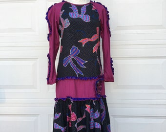 Vintage 1980s designer Jeanne Marc ruffled drop waist bow print dress size S M