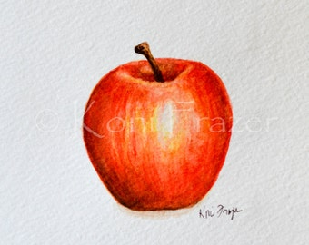 Watercolor apple, kitchen art, original watercolor painting 5x7, ready to frame