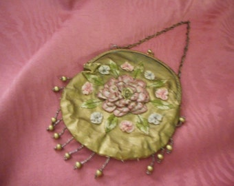 Change Purse on chain with Ribbon Work on Gold Cloth, Vintage -very sweet (FFs1178a)