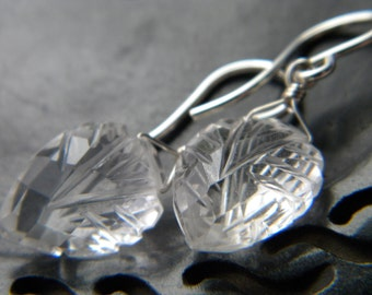 Carved quartz crystal arrowhead wire wrapped earrings - Handmade sterling silver jewelry