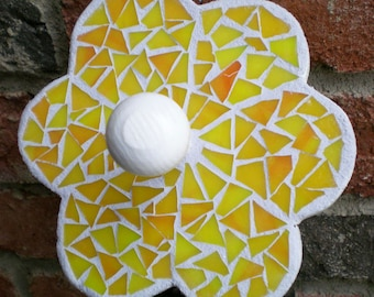 Stained Glass Mosaic Yellow Flower Wall Hanger or Wall Peg