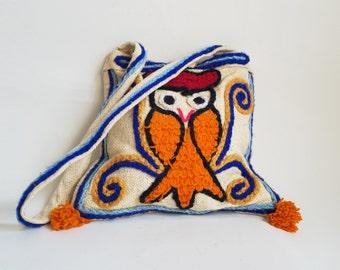 70s Purse/ 1970s Owl Bag Vintage Purse Boho Purse Boho Bag 70s Bag Owl Bag Owl Purse 70s Tote Bag