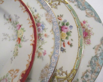 Vintage Mismatched China Salad Plates for Tea Party, Bridal Luncheon,Shabby, Farmhouse, Chic, Bridesmaid Gift, Rustic- Set of 4