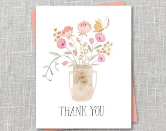 Thank You Bouquet Notecard Instant Download PDF