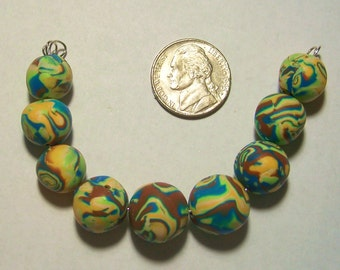 Yellow, Brown, and Turquoise Round Polymer Clay Beads 12mm to 15mm by Carol Wilson of PollyClayDesigns