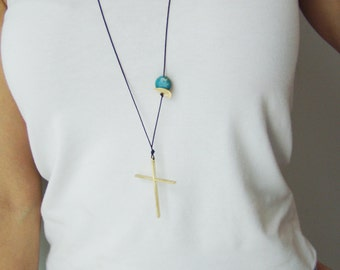 Large gold cross necklace, big, minimal cross on a  long, black cord, made to order