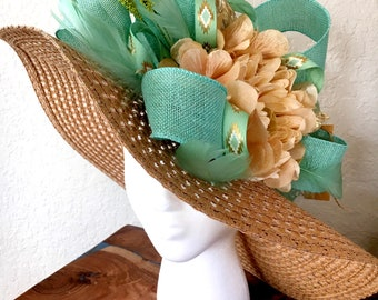 Ocean blue, mint green and gold hat