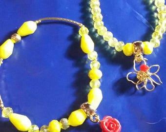 Set of 8 Yellow crystal bracelets