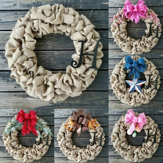 Burlap Wreath, Wreath For All Seasons, DIY Wreath