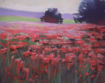 Fields of Pink,  pastel painting