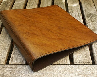 Large Classic Brown Leather 4 Ring Binder, A4 Organizer (Filofax Compatible)