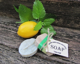 5 Bars Lemon Basil Soap <Handmade-Aromatherapy-EssentialOils-Natural-Herbal-Dry Skin-Antibacterial-Kitchen Soap>