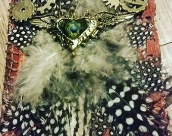 Steampunk feathered jotter