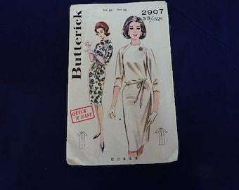 Vintage Butterick 2907 Dress Pattern size 16 Uncut and Factory Folded