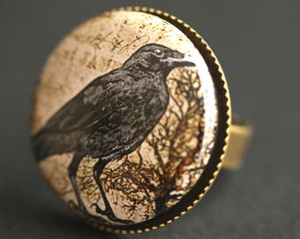 Gothic Raven Ring. Graphic Button Ring. Crow Ring. Goth Ring. Black Bird Ring. Adjustable Ring. Bronze Ring. Halloween Jewelry.