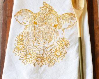 Tea Towel - Screen Print Tea Towel - Flour Sack Towel - Cow - Daisy - Dish Towels - Tea Towels Flour Sack - Kitchen Towels - Tea Towel Set