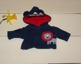 Royal Blue Hooded jacket - 12 inch boy doll clothes
