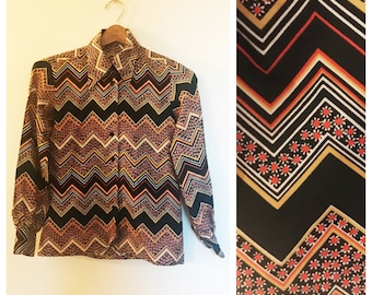 Vintage 70s Chevron and Floral Button up Blouse