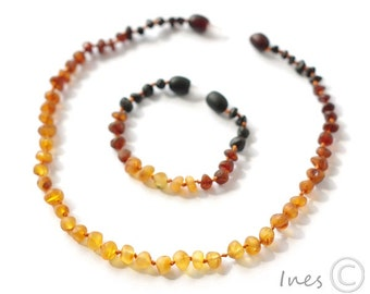 Raw Unpolished Set Of Baltic Amber Baby Teething Necklace and Bracelet/Anklet Rounded Rainbow Color Beads