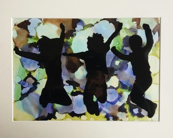 Artwork - Jumping For Joy - A4 ON IVORY MOUNT