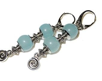 Boho Earrings Gift for Her Stainless Steel Dangle Earrings Summer Silver 925 Gemstone Earrings Blue