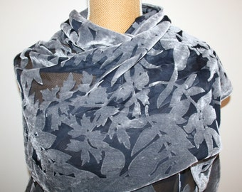 "Grey Leaves Burnout Velvet Scarf Shawl Wrap Wedding Party  62"" X 21"""