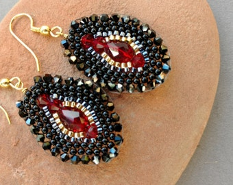 Bronzepony Brick Stitch Earrings, Holiday Earrings, Red and Black Crystal Earrings, Red Crystal Teardrops, January Birthday, CRANBERRY